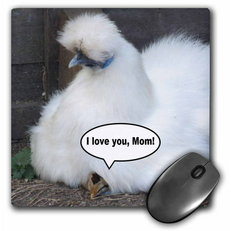 3dRose Cute chick says I love you mom Funny white fluffy feather chicken mothers day Fun animal photography, Mouse Pad, 8 by 8 inches