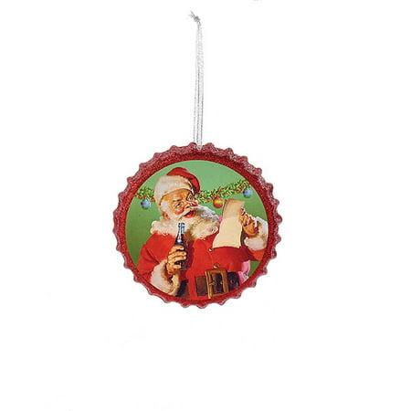 "Kurt S. Adler 4.25"" Coca Cola Santa Reading His List Bottle Cap Glitter Christmas Ornament - -"