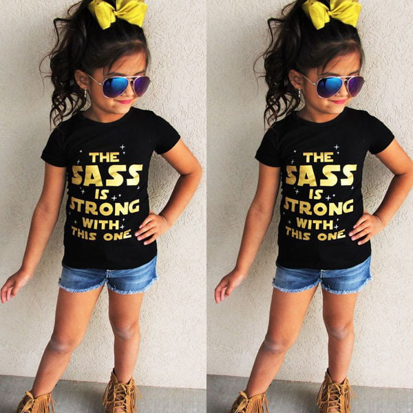 The Sass is Strong With This One Kids Casual Printed T-Shirt Girl Boy Tee Top