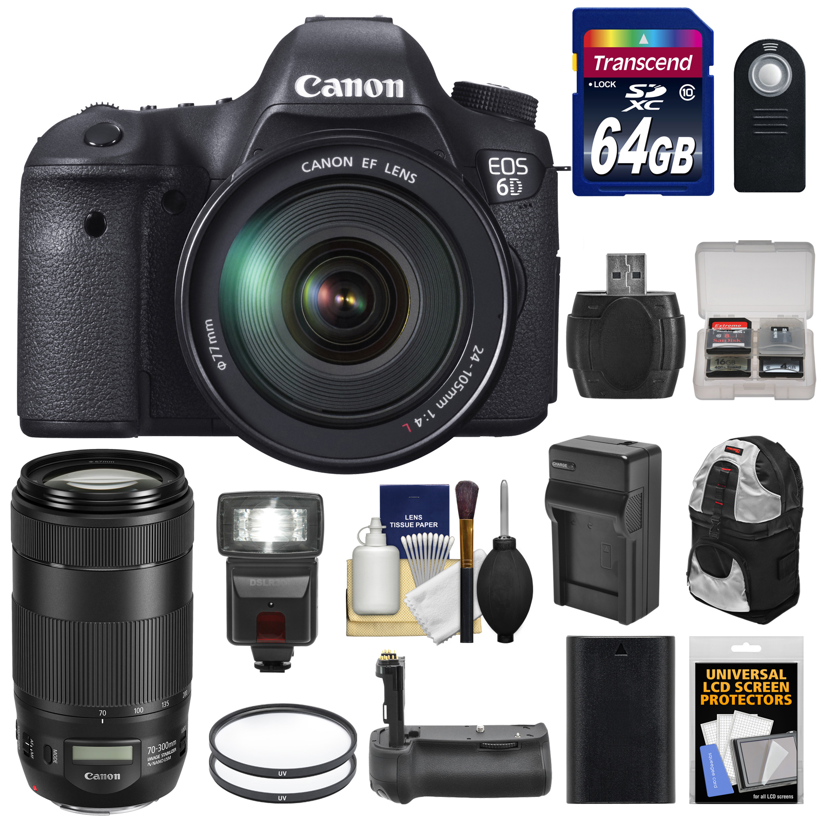 Canon EOS 6D Digital SLR Camera Body with EF 24-105mm L IS USM & 70-300mm IS II Lens + 64GB Card + Backpack + LED Flash... by Canon