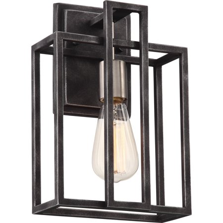 Lake 1-Light Wall Sconce in Iron Black with Brushed Nickel Accents Finish 2700K (Brushed Nickel Finish Wall)