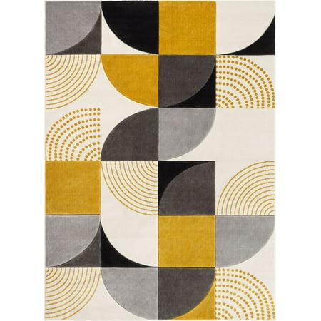 Well Woven Good Vibes Margot Gold Modern Geometric Shapes 5'3