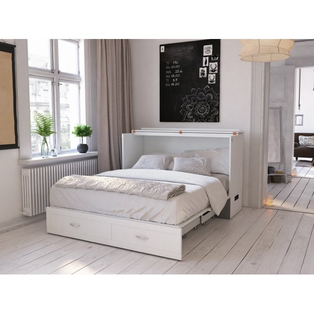 Hamilton Murphy Bed Chest Queen White, Queen Murphy Storage Platform Bed With Mattress