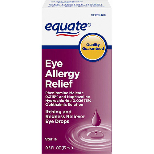 Equate: Sterile Eye Allergy Relief Itching & Redness Reliever Eye Drops, 0.50 fl oz