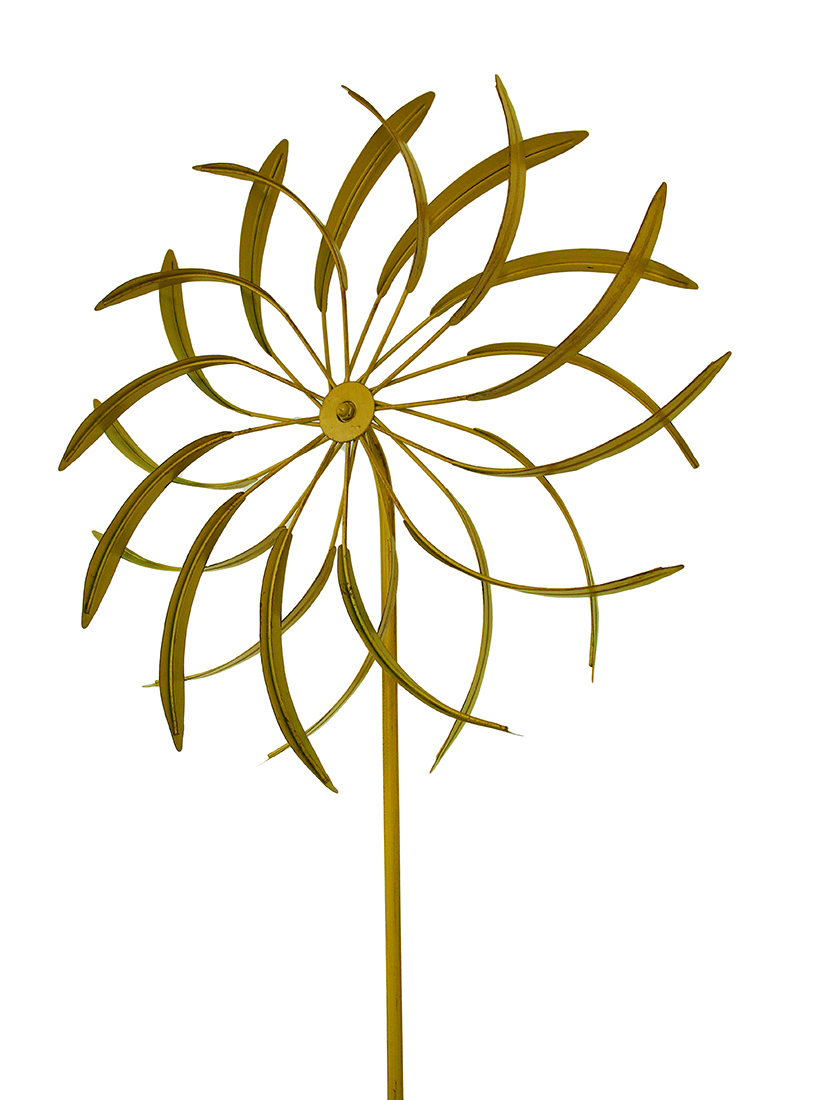Blossoming Illusions 18 in. Flower Wind Spinner Metal Garden Stake Sculpture by UPPER DECK, LTD