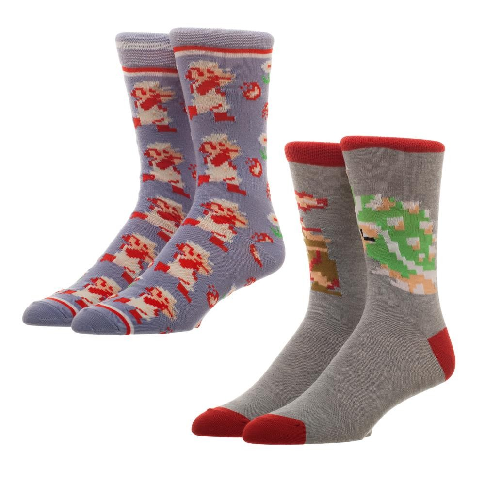 Super Mario Bros Classic 2 Pack Men's Crew Socks