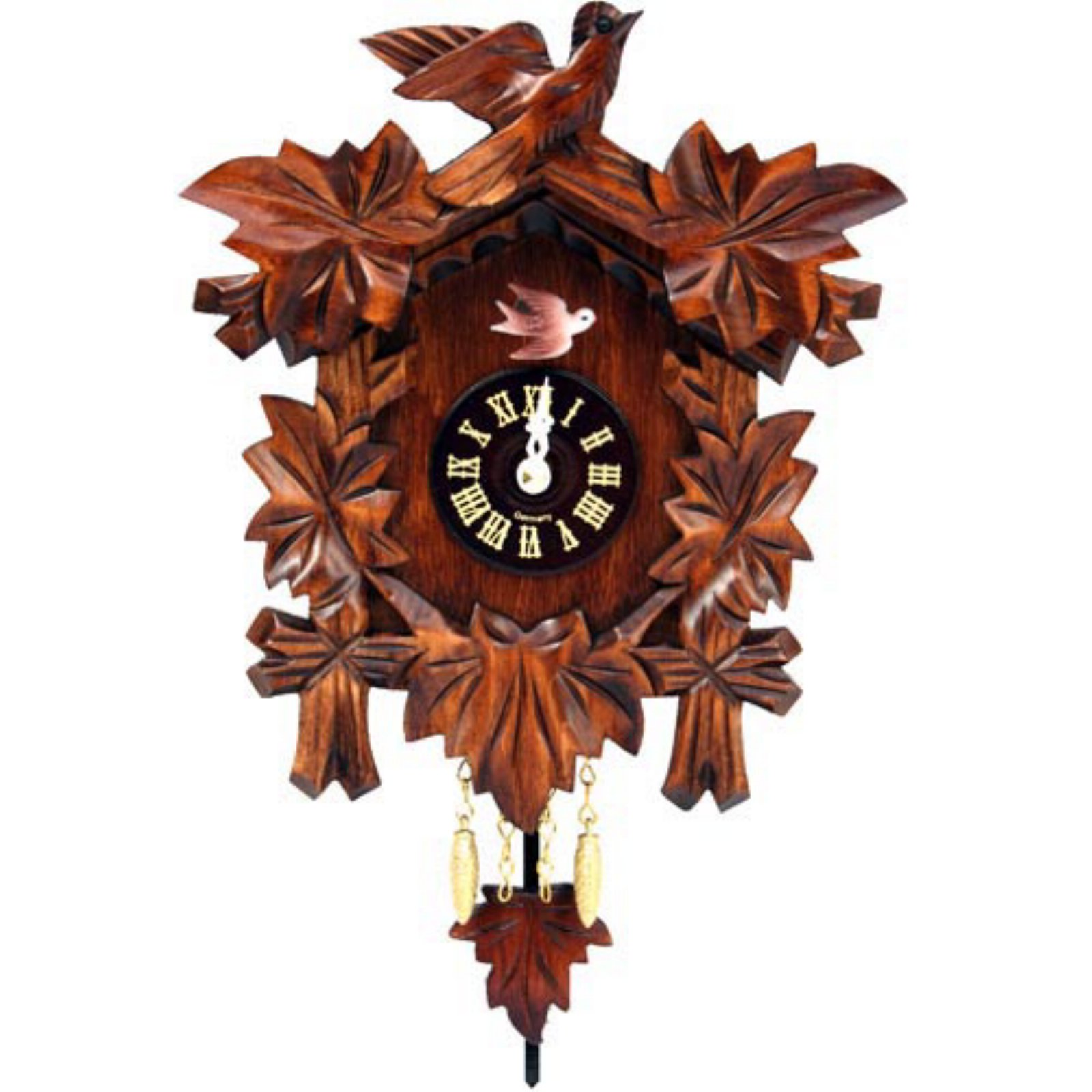 Black Forest Bird and Leaf Cuckoo Clock