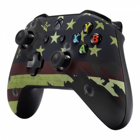 Xbox One S / X Soft Touch Custom Modded Rapid Fire Controller - Includes Largest Variety of Modes - Master Mod - Red White Blue American Flag (Flag) (Xbox One Master Mod Controller)