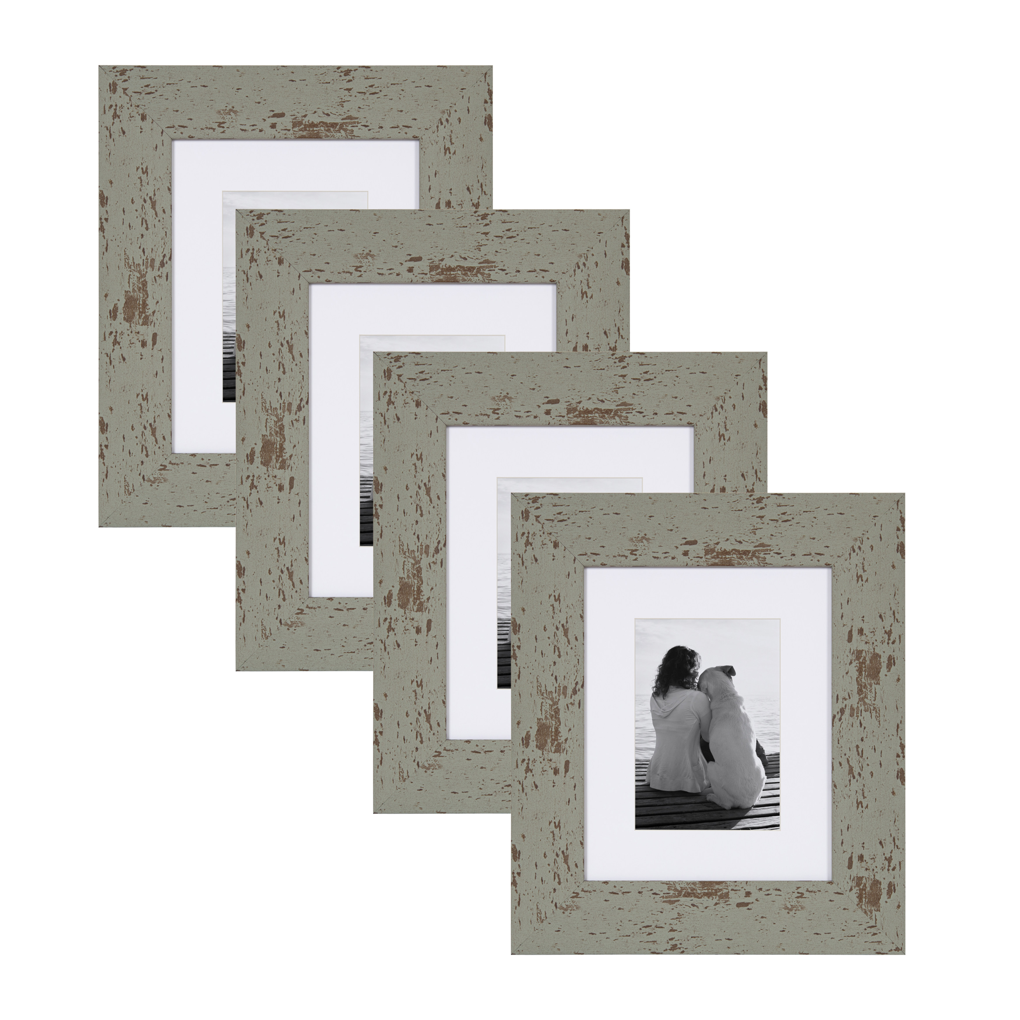 DesignOvation - Nor Rustic Wall Hanging or Table Standing Decorative Picture Frame Set with Off-White Mats, Distressed Teal, 8x10 matted to 5x7, Pack of 4