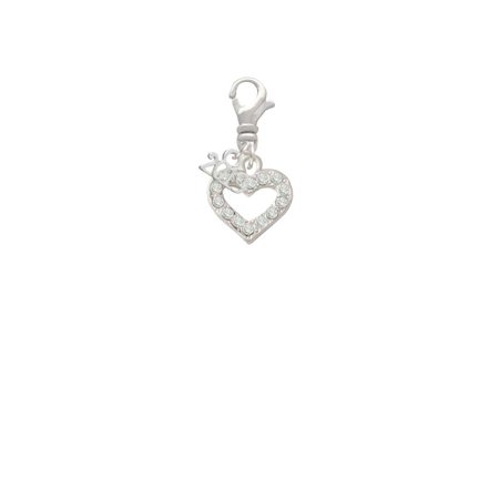Silvertone Crystal Open Heart - 2019 Clip on Charm Crystal Open Heart Charm