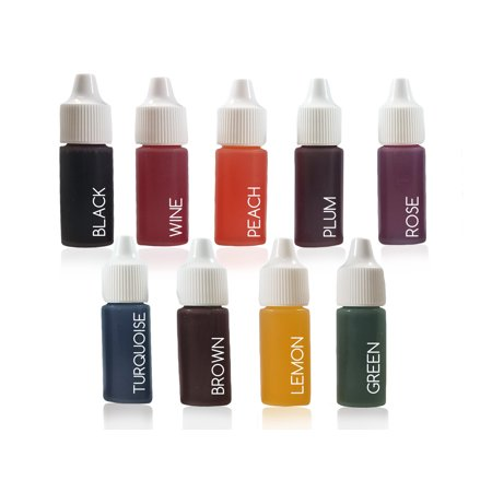 9 Liquid Dye Colorant Set for Soap Coloring, Bath Bomb Making - Plum, Brown, lemon, Black, Rose, Peach, Turquoise, Wine, and Green (10 ml Each