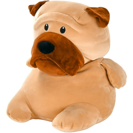 Spark. Create. Imagine. Large Tan Dog Plush Animal, Ultra Soft with Dark Brown (Tan Soft Toy)