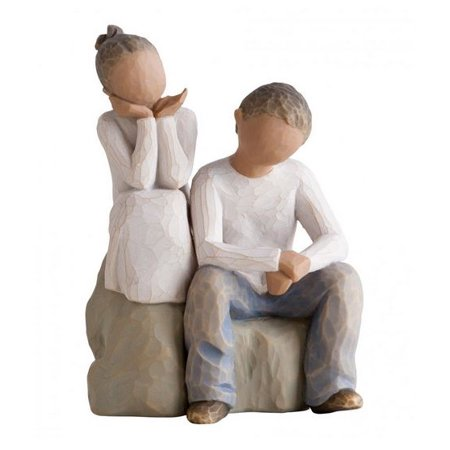 Willow Tree Brother and Sister Siblings Together Figurine 27352 Darker Hair Skin ()