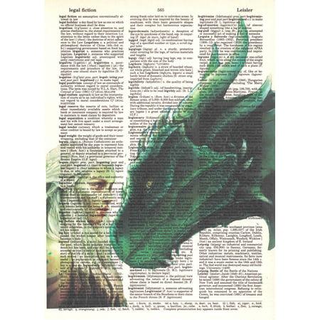Dragon Art Poster - Art N Wordz Game of Thrones Dragon Queen Daenerys Targaryen Upcycled Dictionary Sheet Pop Art Wall or Desk Art Print Poster