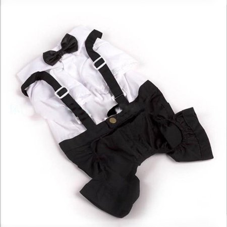 Pet Dog Tuxedo Bow Tie Clothes Wedding Suit Puppy Costumes - Jail Dog Costume