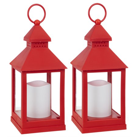 Pemberly Row Flickering LED Lantern - Red Set of 2 9.25-Inch - Red Lantern Seattle