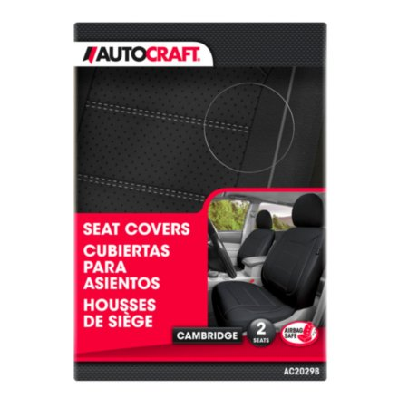 Autocraft Seat Cover, Cambridge, Faux Leather, Luxury, Black, 2 Pack