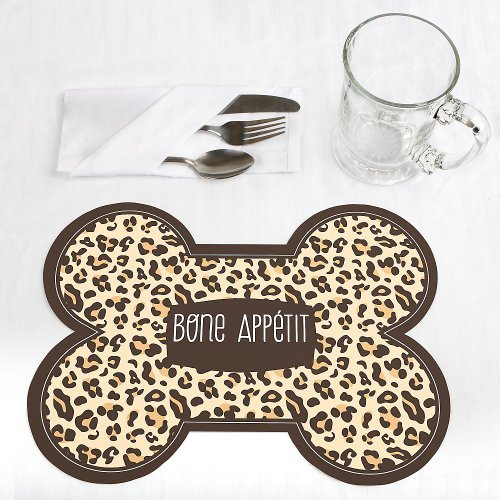Leopard Bone Shaped Dog Party Placemats Set of 12 by When Pooch Comes to Shove