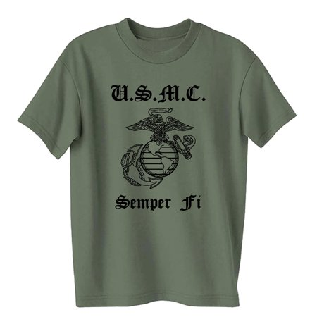 USMC Semper Fi Marines Eagle, Globe & Anchor Short Sleeve Tee in Military Green