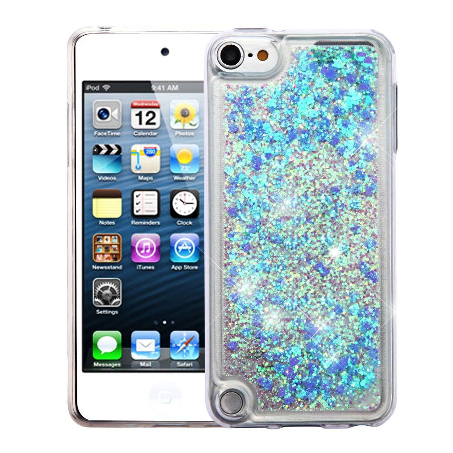 iPod Touch 6th Generation Case, iPod Touch 5th Generation Case, by Insten Quicksand Glitter Hard Plastic/Soft TPU Rubber Case Cover For Apple iPod Touch 5th Gen/6th Gen, Blue