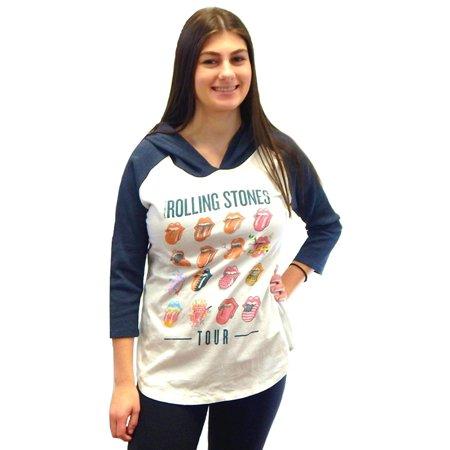 Tour Raglan (PanTeez The Rolling Stones Tour Women's Juniors Hoodie 3/4 Sleeve Rock Raglan Graphic Waffle Thermal T-Shirt Tee Top)