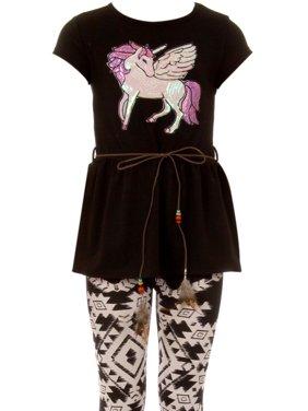 ed6362f22905d Product Image Big Girl Unicorn T-Shirt Pant Legging Tight Girls 2 Pieces  Clothing Set Ivory 14. BluNight Collection