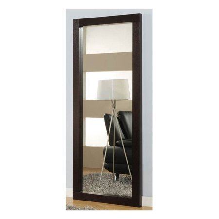 Vertical Floor Mirror w Wenge Finish Wood Frame -
