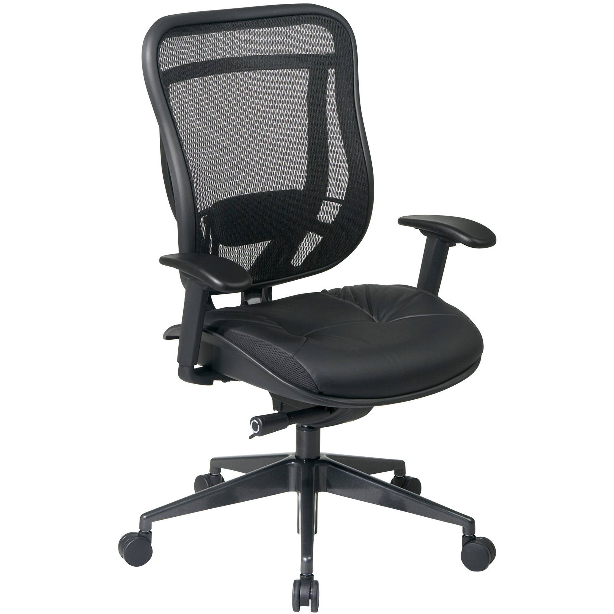 Space Seating Executive High Back Chair with Breathable Mesh Back and Leather Seat with Gunmetal Finish Angled Base, Black