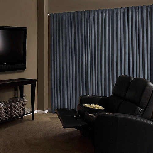 Absolute Zero Velvet Room Darkening Home Theater Curtain Panel