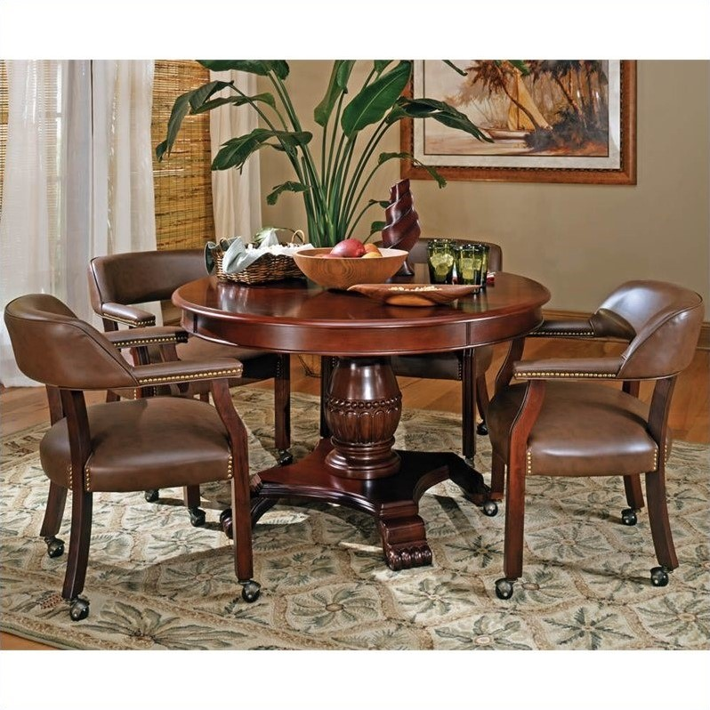 Steve Silver Company Tournament Brown Top Poker Table in Cherry