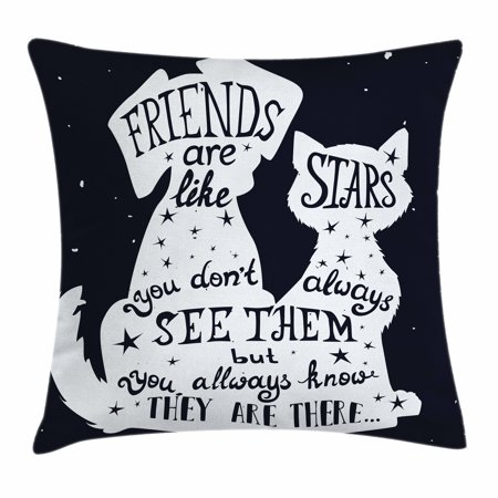 Dog Throw Pillow Cushion Cover Friends Are Like Stars Quote With Custom Decorative Dog Themed Pillows