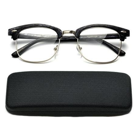 4884cb8600f8 High Quality Fashion Reading Glasses for Men Retro Vintage Reading Glasses  Horn Rimmed Half Frame Reading Glasses with Case - Walmart.com