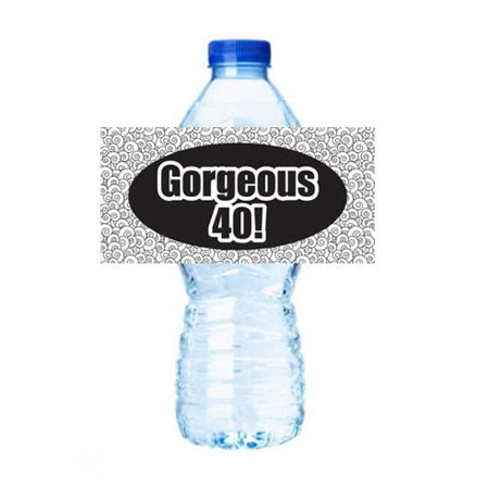 Gorgeous 40 (40th Birthday) Party Decorations 15ct Water Bottle Sticker Labels - 40th Birthday Party Decorations