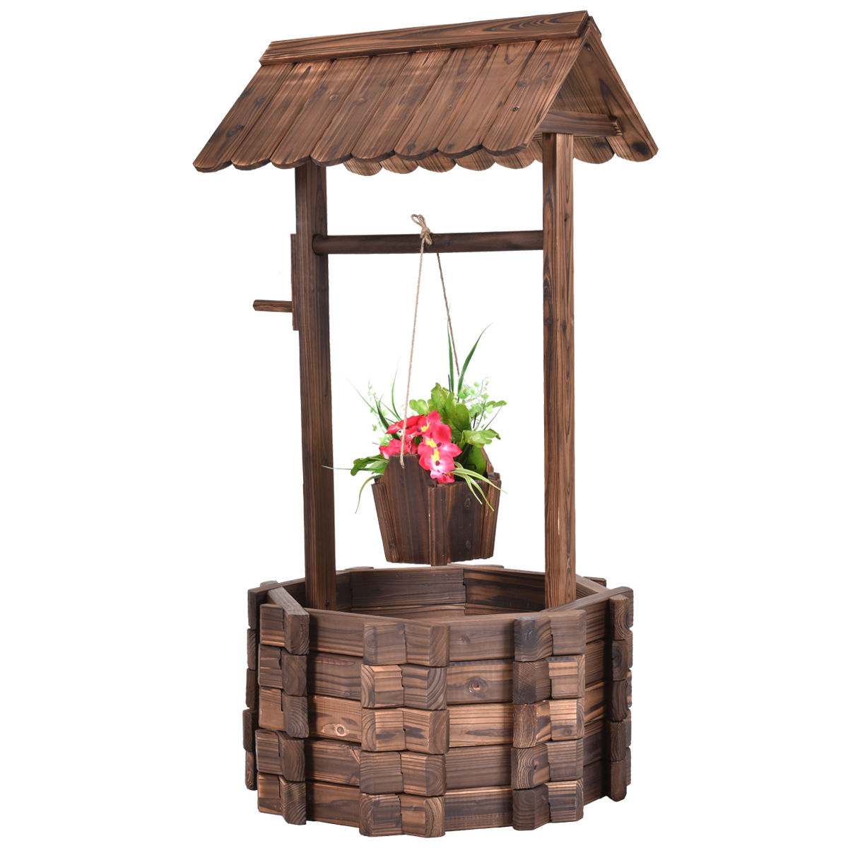 Costway Outdoor Wooden Wishing Well Bucket Flower Plants Planter Patio Garden Home Decor by Planters