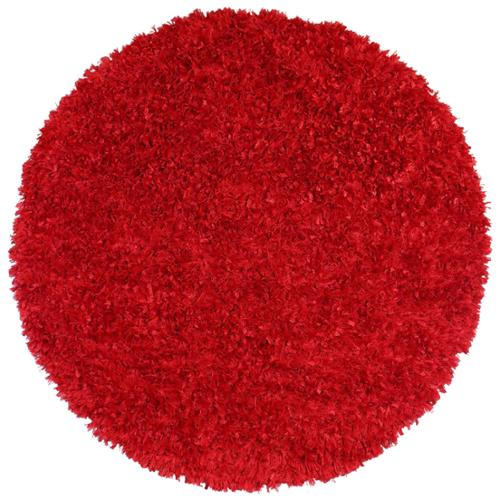 Red Shimmer Shag (3'x3') Round Rug