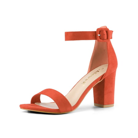 284H Woman Open Toe Chunky High Heel Ankle Strap Sandals Orange/US 7.5