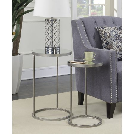 - Convenience Concepts Gold Coast Julia Round Nesting Mirror End Tables