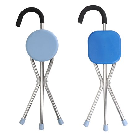 2-in-1 Stainless Steel Lightweight Folding Walking Chair Stick With Seat Portable Outdoor Hiking Camp Cane Travel Stool Cane Back Folding Chairs