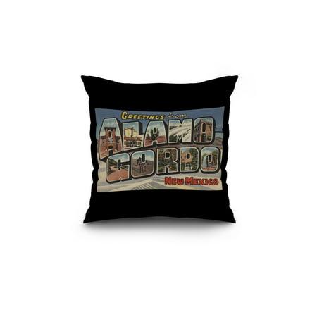 Greetings from Alamogordo New Mexico 18x18 Spun Polyester Pillow Black