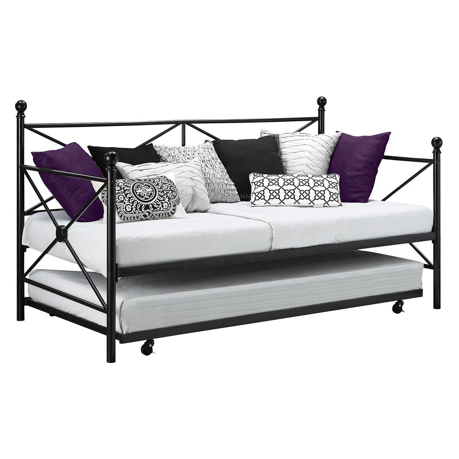DHP Lubin Metal Daybed and Trundle Frame Set, Black