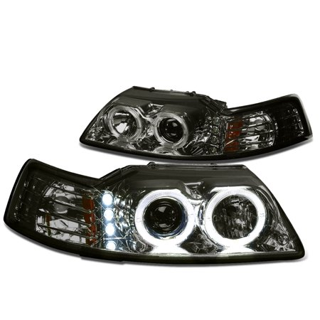 - For 99-04 Ford Mustang SN-95 Dual LED Halo Ring Projector Headlight Smoked Housing Amber Corner Headlamp 00 01 02 03 Left+Right