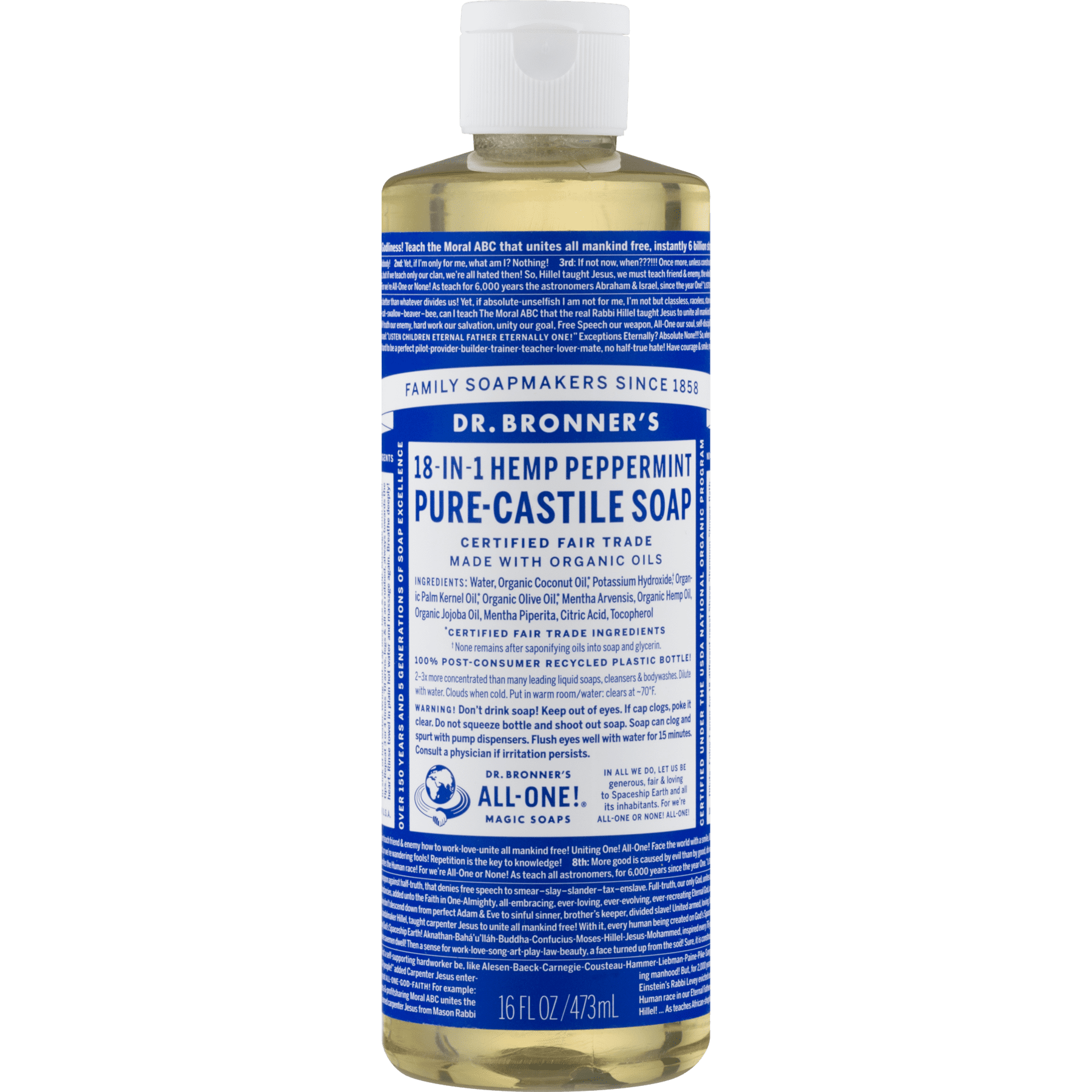 Dr  Bronner's Peppermint Pure-Castile Liquid Soap - 16 oz