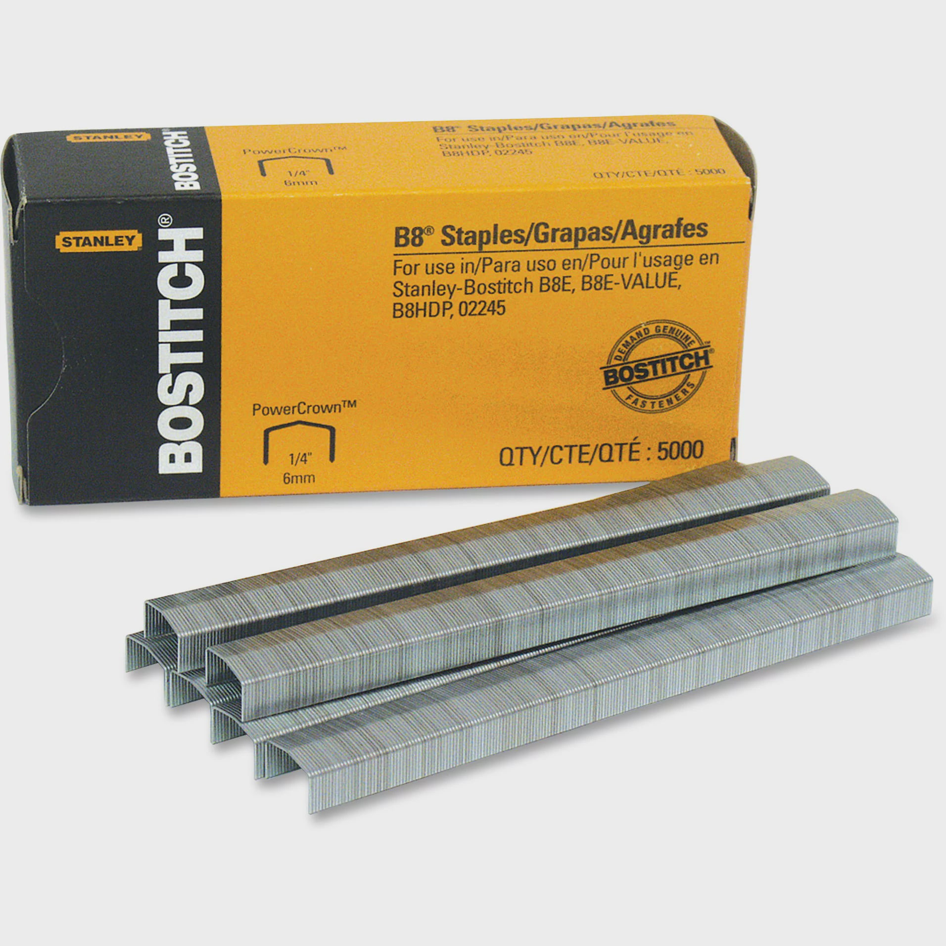 "Bostitch B8 PowerCrown Premium Staples, 1 4"" Leg Length, 5000 Box by Amax Inc"