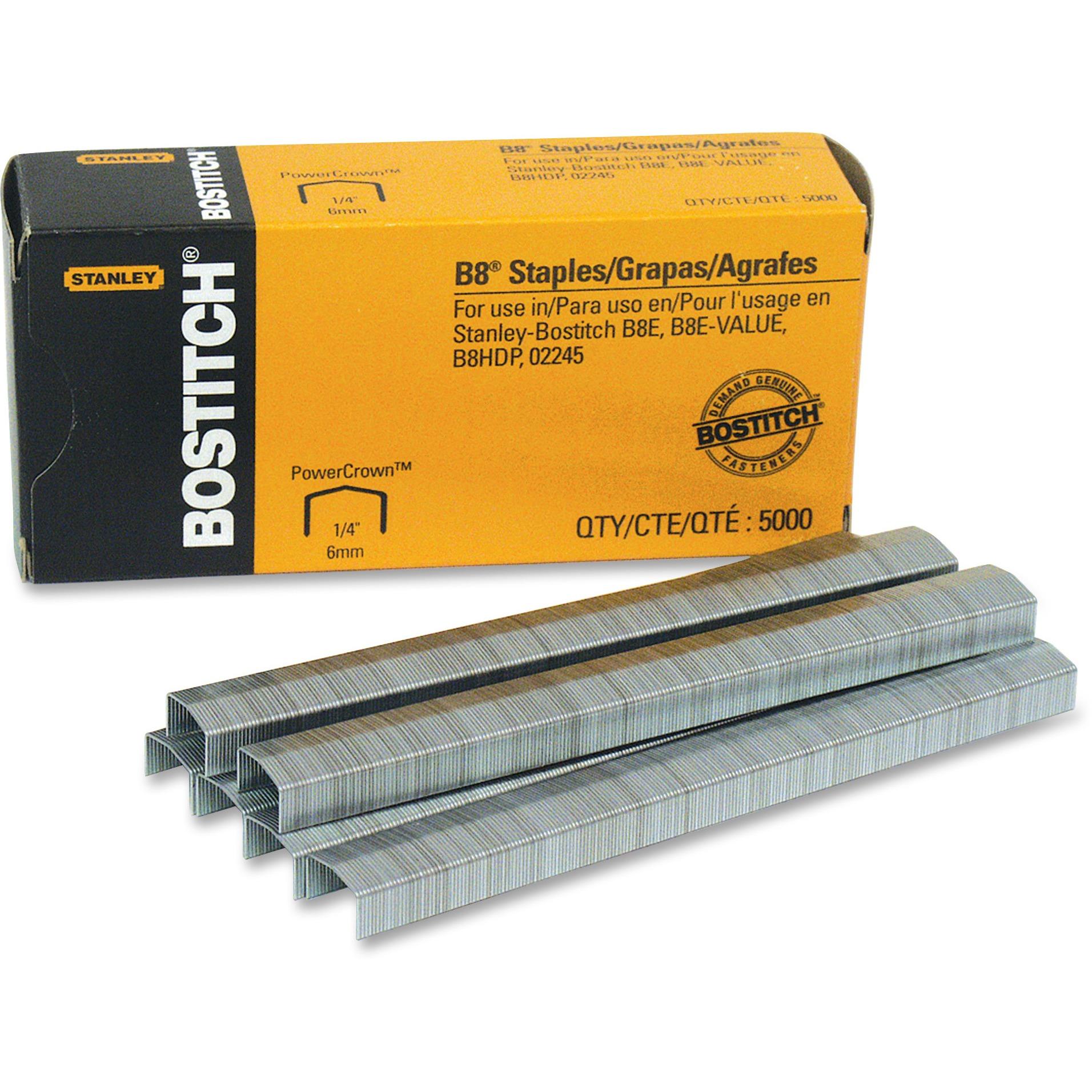 "Bostitch B8 PowerCrown Premium Staples, 1/4"" Leg Length, 5000/Box"