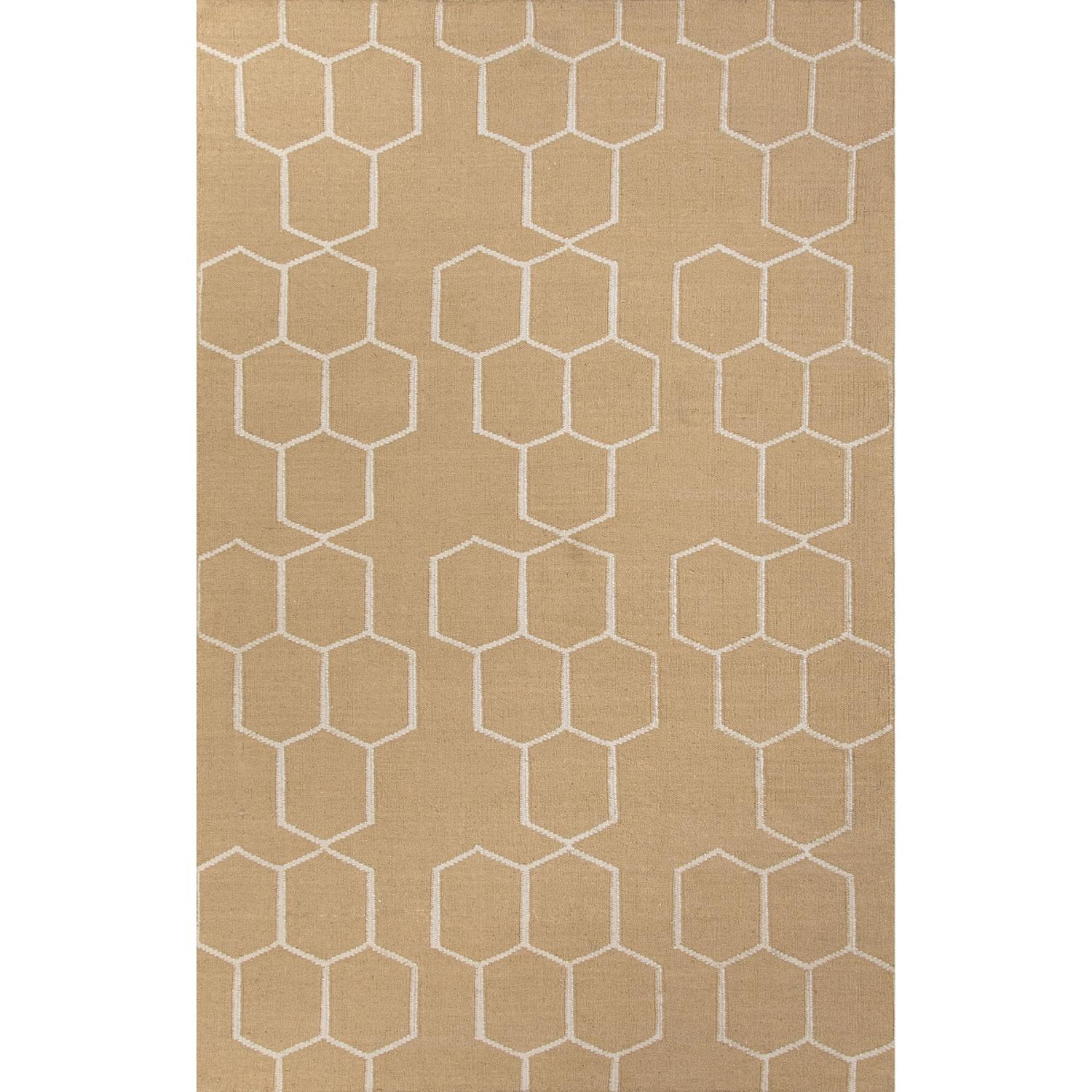 5' x 8'  Sandstone and Off-White Flat-Weave Abdel Reversible Wool Area Throw Rug