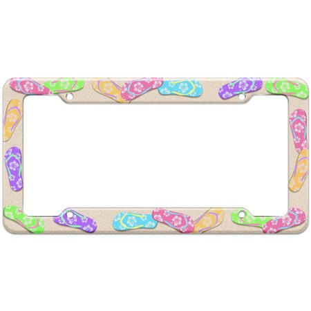 Beach Tropical Flip Flop Pattern License Plate Frame (License Plate Flip)