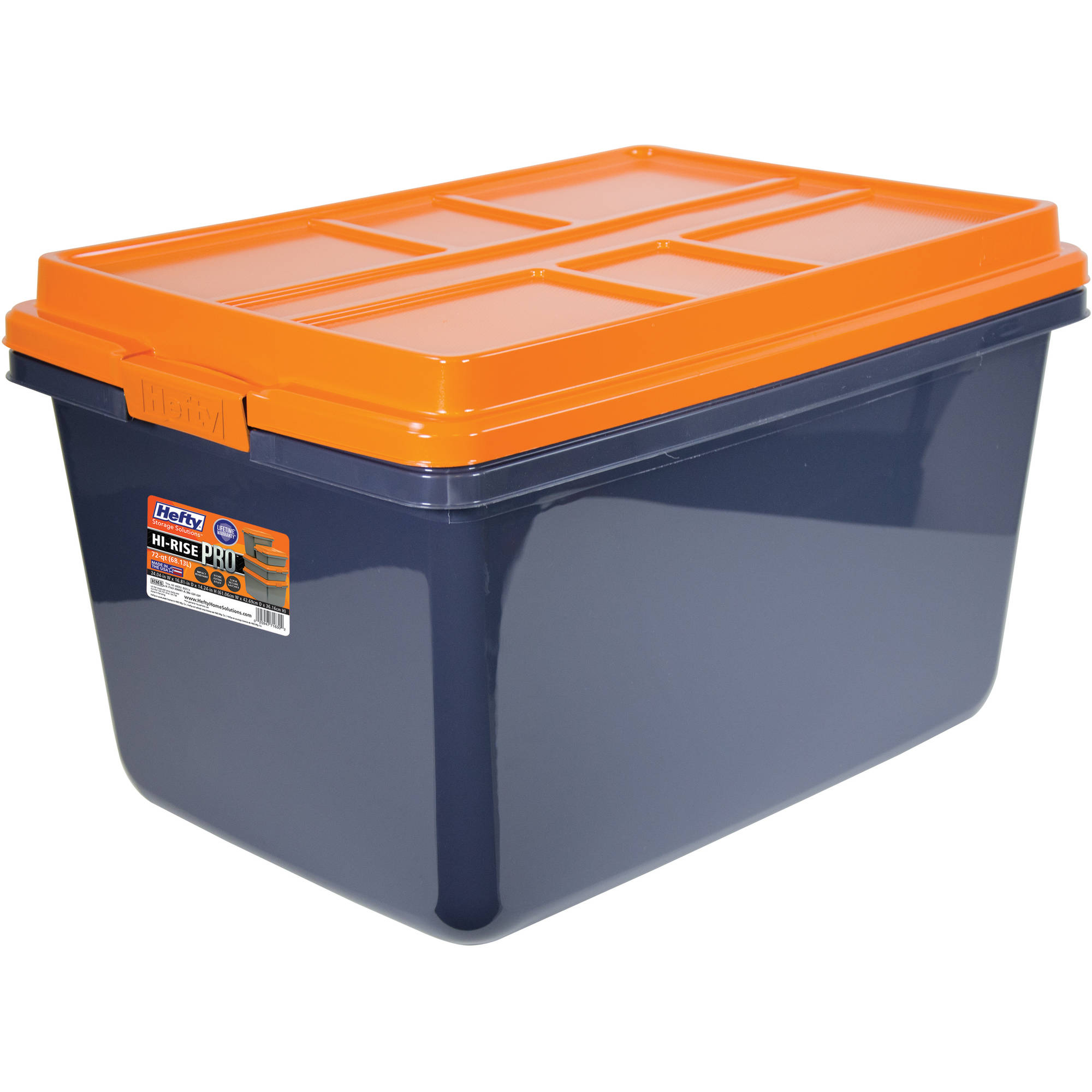 Hefty HI-RISE PRO Heavy Duty Storage Bins, 72 Qt. Latch Storage Box, Orange/Gray