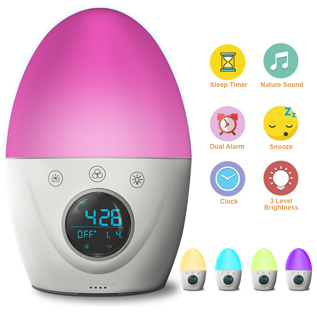 Updated ver-FiveHome Kids Alarm Clock Wake Up Light ,Colour Changing & Dimmable Night Light,Touch Control, Optional Weekday Alarm, Snooze,Sleep Timer,Rechargeable Include USB Cord and Plug Adapter