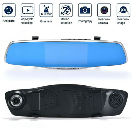 Dual Lens Car Camera  Agptek Rear View Reverse Mirror Backup Camera  1080P Full Hd Dash Cam Car Recordering System