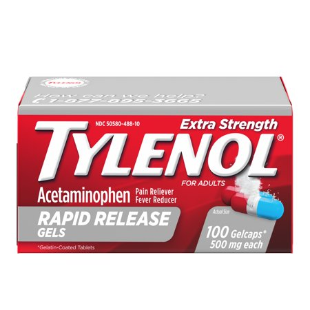 100 Mg 50 Gels - Tylenol Rapid Release Gels, Fever Reducer and Pain Reliever, 500 mg, 100 ct.